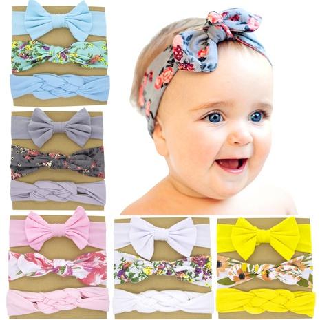 Kinder Bowknot Printed Rabbit Ears Stirnband Set NHWO344012's discount tags