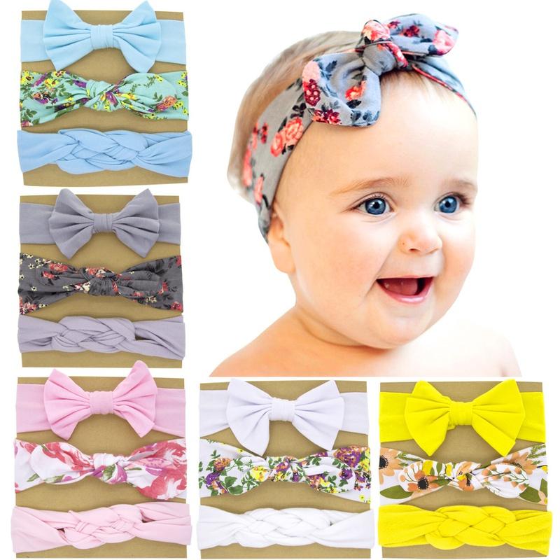 Childrens Bowknot Printed Rabbit Ears Headband set NHWO344012