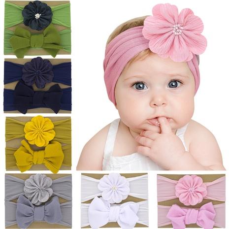 zweiteiliges Set aus nylonfarbenem einfarbigem Blumenhaarband für Kinder NHWO344011's discount tags