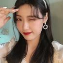 Fashion pearl circle alloy earrings wholesale NHBY344019