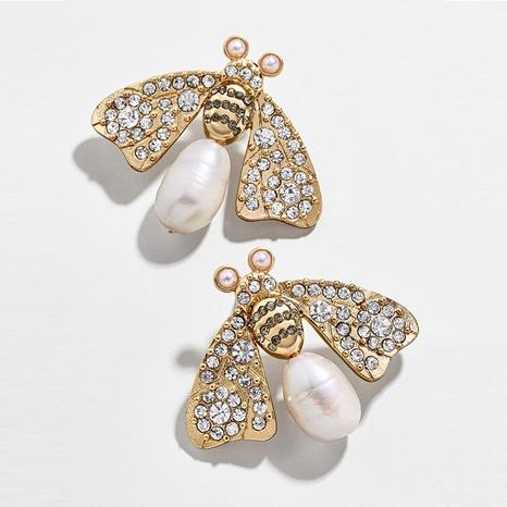 Pendientes de aleación de diamantes de imitación de perlas de abeja de moda al por mayor NHYAO344045's discount tags
