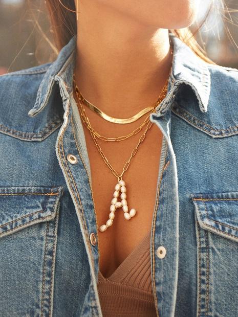 Collar de aleación de perlas con letras inglesas de moda al por mayor NHYAO344048's discount tags
