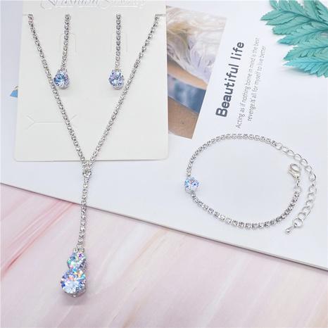 Venta al por mayor determinada geométrica de la pulsera de los pendientes del collar de la aleación del rhinestone de la moda NHHER344066's discount tags
