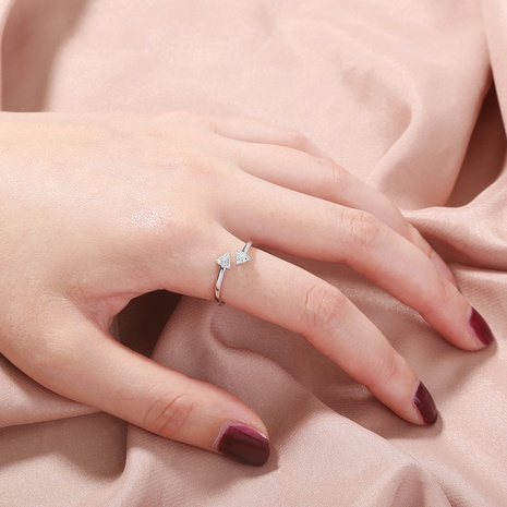 fashion triangle opening adjustable copper inlaid zircon ring  NHAN344069's discount tags