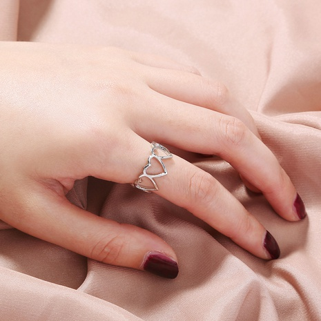 simple hollow heart-shaped adjustable ring NHAN344071's discount tags