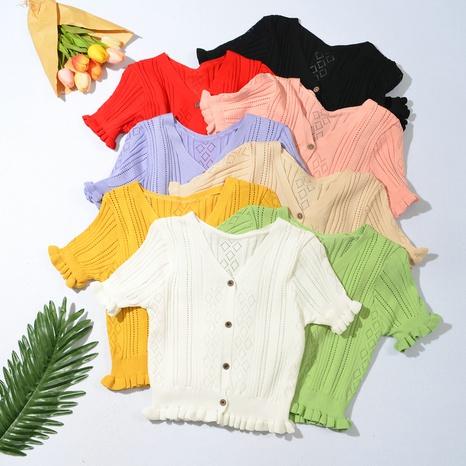 T-shirt en maille creuse à col en V NHZN331340's discount tags