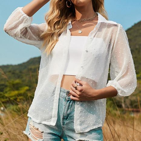 chemisier de couleur unie à la mode blanche NHZN331337's discount tags