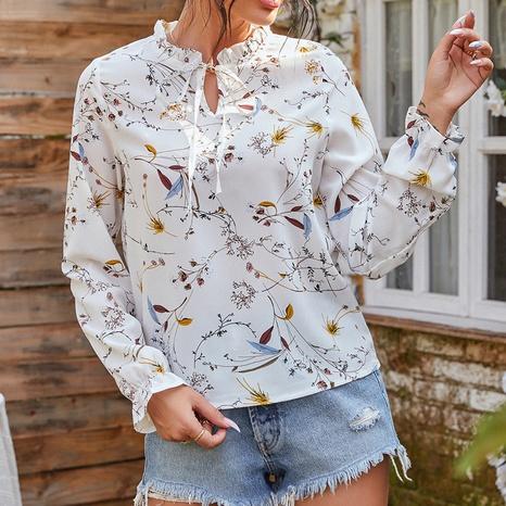 nouvelle chemise fleurie à col roulé tout assorti NHZN331295's discount tags