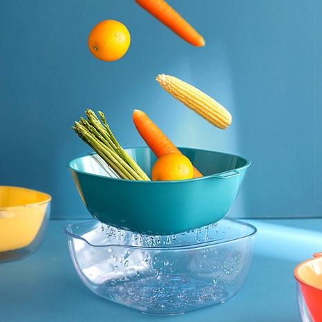 Panier à légumes en plastique simple à double couche de couleur unie NHYUE344182's discount tags