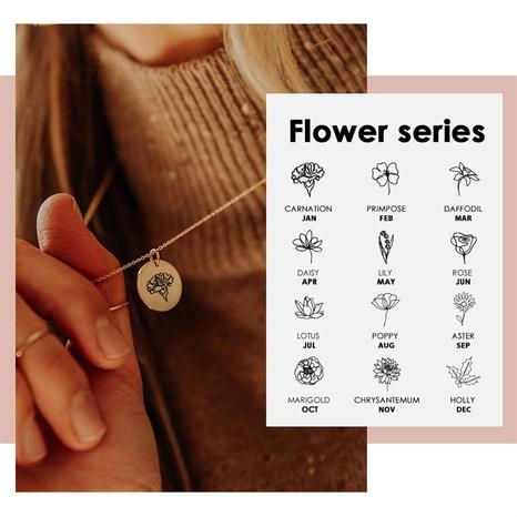 Venta al por mayor redonda del collar del acero inoxidable de la flor de la planta de las letras de la moda NHTF344205's discount tags