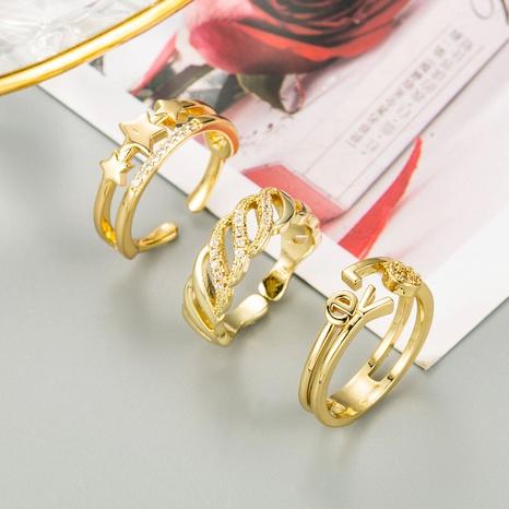 anillo de circonita de color con micro incrustaciones de cobre con letra de estrella de moda AMOR NHLN344215's discount tags