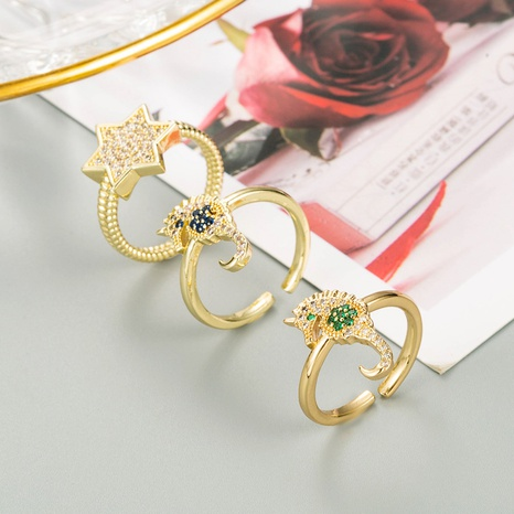 anillo de forma de estrella de caballito de mar con micro incrustaciones de cobre de moda NHLN344214's discount tags