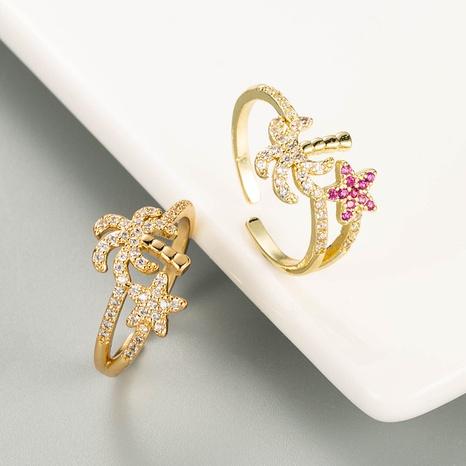 anillo de forma de estrella de mar de palmera de circonio microincrustado de cobre dorado NHLN344216's discount tags
