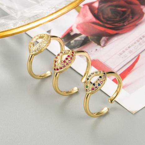anillo de circón micro-incrustado de la forma del labio de la moda al por mayor NHLN344218's discount tags