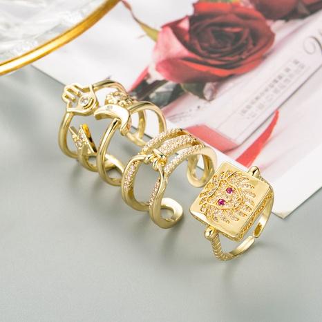 anillo de circonita con micro incrustaciones de cobre hipster de palma de luna de moda NHLN344220's discount tags