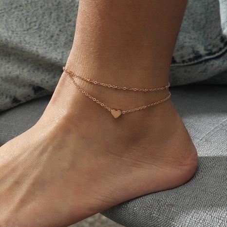 Mode Doppelschicht Herzform Legierung Fußkettchen Großhandel NHKQ344257's discount tags