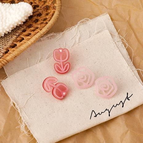 Fashion lovely romantic pink tulip flower asymmetric acrylic earrings NHMS344428's discount tags
