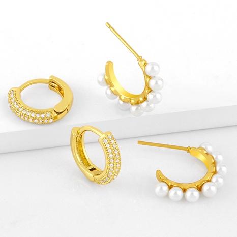 Pendientes de circón con incrustaciones de cobre en forma de C de perlas de moda al por mayor NHAS344524's discount tags