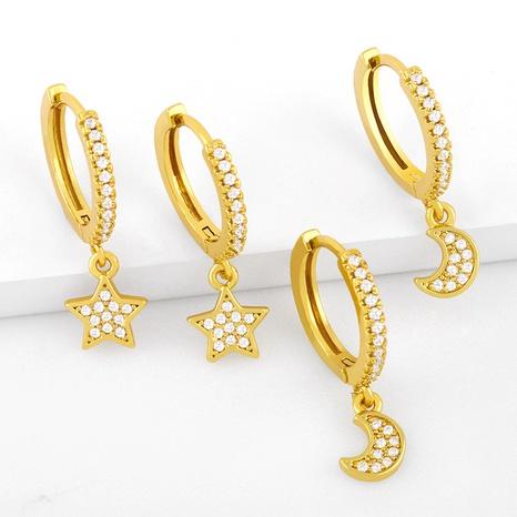 Pendientes de circón con incrustaciones de cobre de estrella y luna de moda al por mayor NHAS344525's discount tags