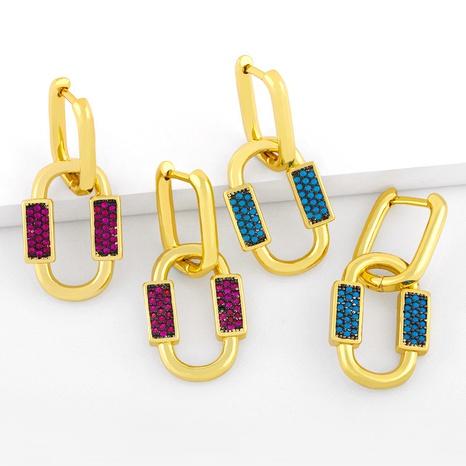 Pendientes de circón con incrustaciones de cobre geométrico de moda al por mayor NHAS344526's discount tags