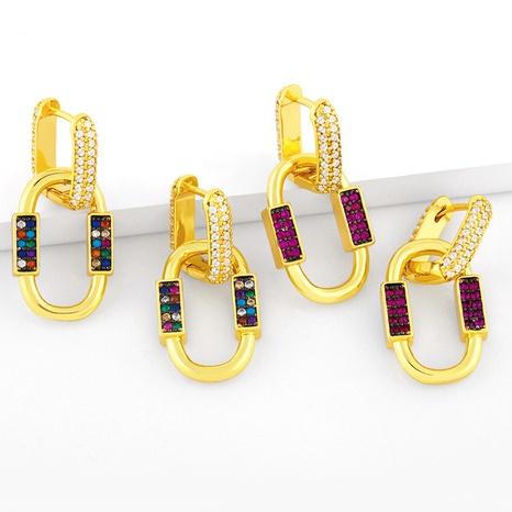 Pendientes de circón coloridos con incrustaciones de cobre geométrico ovalado de moda al por mayor NHAS344527's discount tags