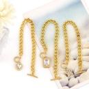 Fashion heartshape fivepointed star OT buckle copper bracelet wholesale NHAS344528