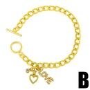 Fashion smiley face heartshape copper zircon bracelet wholesale NHAS344530