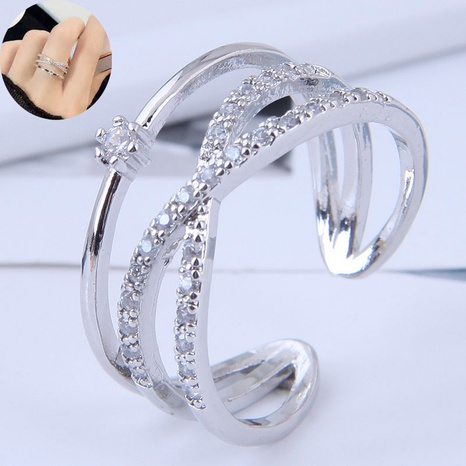 fashion sweet inlaid zirconium simple open ring NHSC345135's discount tags