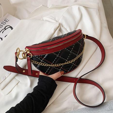 bolso de cintura de piña de color de contraste de patrón de rombos de moda NHJZ344643's discount tags