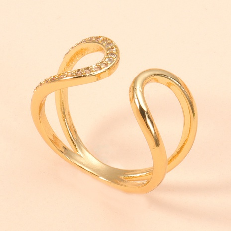 anillo ajustable de apertura de circón cruzado de moda NHJJ344769's discount tags