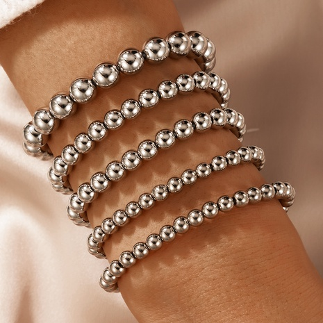 fashion new simple punk style round bead bracelet set NHGY345110's discount tags