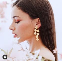 Mode neue quadratische goldene geometrische unregelmäßige Ohrringe NHGY345108