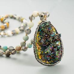Mode neuen Stil mehrfarbige Naturstein Kristallknospe unregelmäßige Kristall lange Halskette NHLN345096