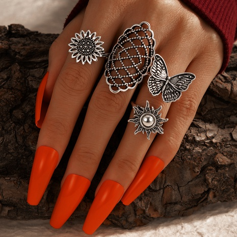 simple fashion butterfly geometric retro ring set NHGY331196's discount tags