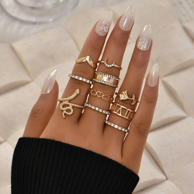 fashion snake rose peach heart ring set NHAJ331189