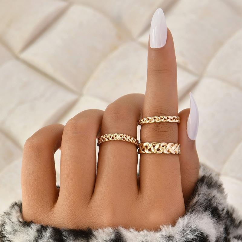 Simple fashion twist ring set NHAJ331188