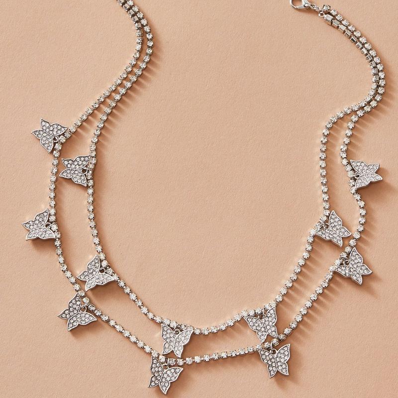 fashion diamond chain butterfly diamond necklace NHAJ331185