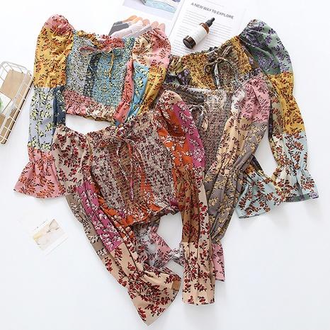 nouvelle chemise rétro en mousseline de soie à fleurs NHZN331157's discount tags