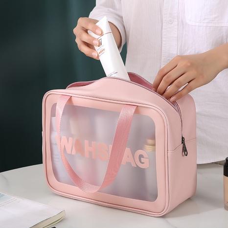Bolsa de lavado de maquillaje de tres piezas transparente de PU bolsa de almacenamiento portátil de pvc de gran capacidad NHQC331154's discount tags