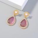 retro pearl diamond opal water drop earrings NHAN331258