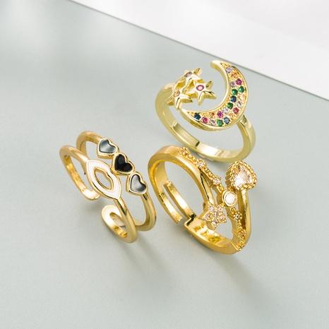 bague d'ouverture en zircon micro-incrusté fashion star moon NHLN331267's discount tags