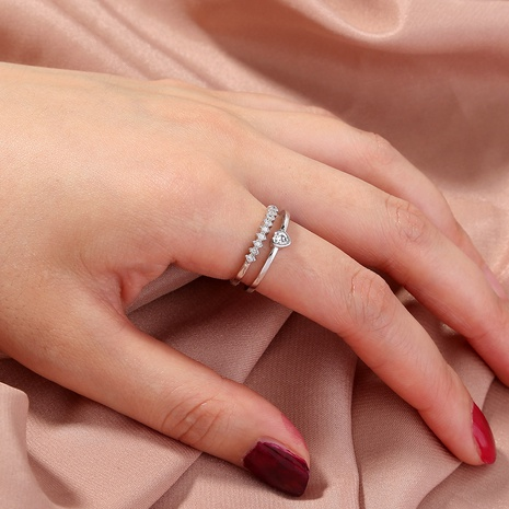 fashion heart zircon micro-inlaid opening ring NHAN331324's discount tags