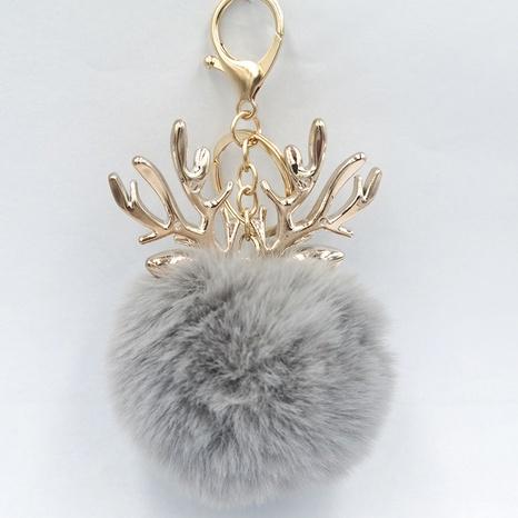 Fashion antler hair ball keychain NHDI331368's discount tags