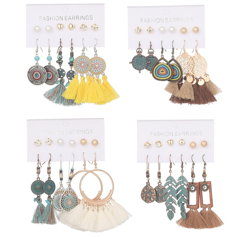 bohemian handmade gemetric tassel earrings set NHAKJ331422