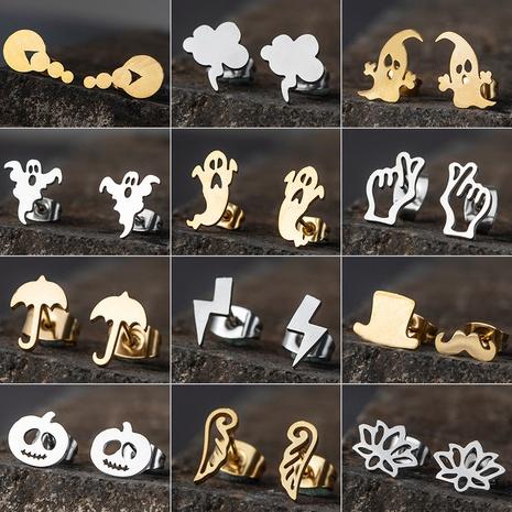 Pendientes simples de calabaza de Halloween de acero inoxidable al por mayor NHAKJ331423's discount tags