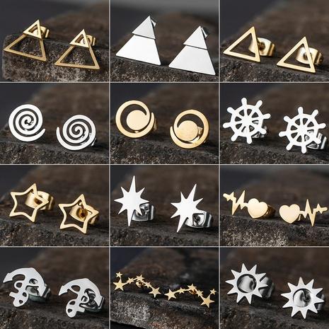 Pendientes triangulares de acero inoxidable con estrella simple al por mayor NHAKJ331424's discount tags