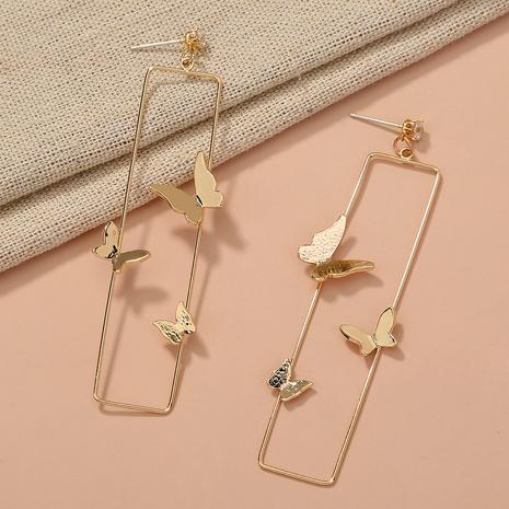 Mode geometrische Metall dreidimensionale Schmetterling lange Ohrringe NHAN331526's discount tags