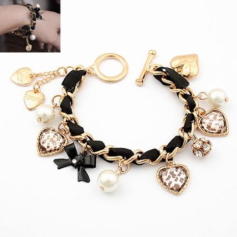 Korean pearl heart-shape leopard bow multi-element bracelet NHSC332135's discount tags