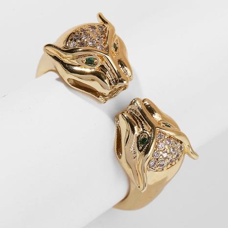 Bague ouverte léopard zirconium incrusté de cuivre NHLA331690's discount tags