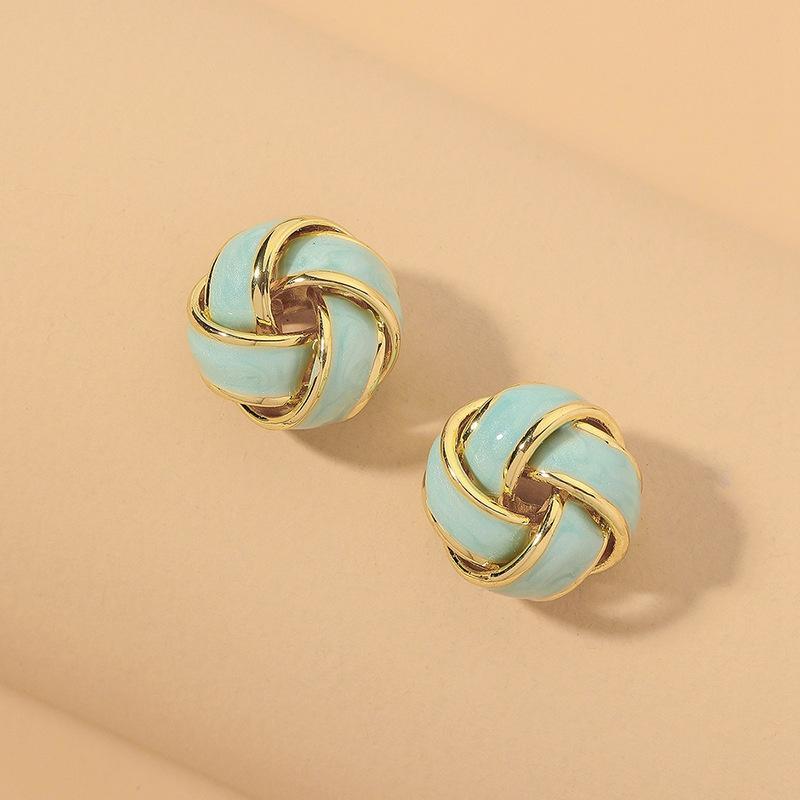 fashion enamel glazed woven ball small earrings  NHNJ331699